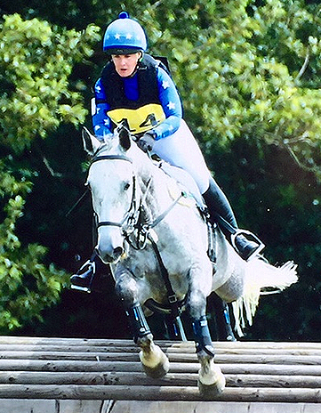 Kirsti and Bran in Royal blue and silver XC Colours at Brightling UA Pre Novice