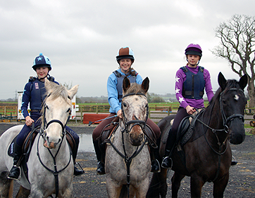 Navy XC Colours, Sky XC Colours and Purple XC Colours on their horses