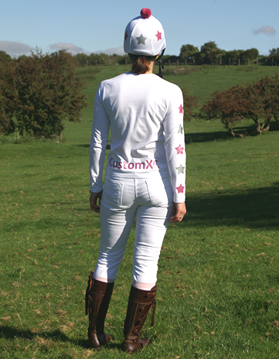White cross country colours with pink and silver stars and CustomXC logo