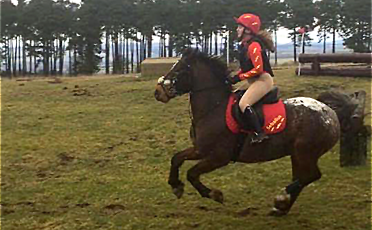 Sophie's first event of the season, wearing red and yellow XC Colours
