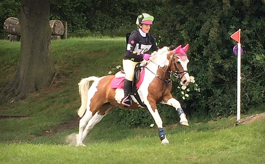 Brightly coloured rider and pony coming down the field...