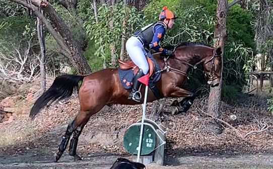 Cross country in Australia in navy and orange XC Colours