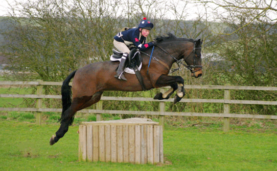 Great picture of Arthur going over xc jump in navy colour with red and white stars