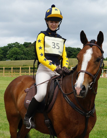 Yellow Baselayer xc colours with yellow and navy hat silk and pom pom