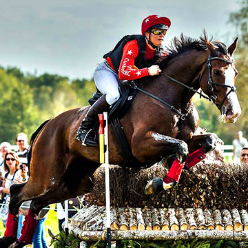 Red XC Colours over large jumps with crowd cheering