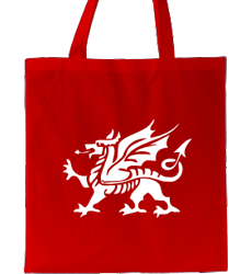 Red tote bag, big dragon design