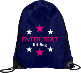 Navy drawstring, fuchsia text with tagline and stars all around