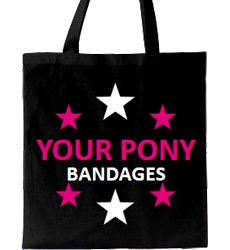 Black tote bag, fuchsia text with tagline and stars all around