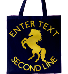 Navy tote bag, gold text and heraldic horse