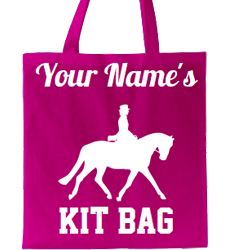 Fuchsia tote bag, name and text design