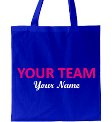 Blue tote bag, fuchsia text, white tagline