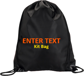 Black drawstring, orange text, yellow tagline