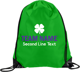 Green drawstring, white and purple text and clovers