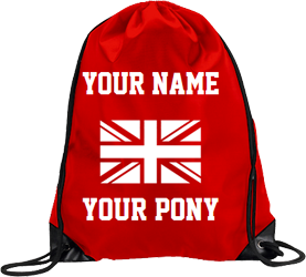 Red drawstring, Union Jack design with text around