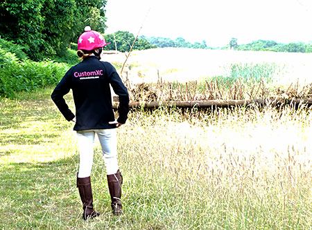 CustomXC rider walking the course ready to go cross country