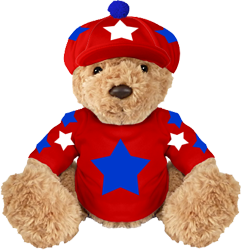 Red mascot, white and royal stars with pom pom
