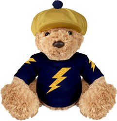 Navy and gold mascot, gold glitter sparks