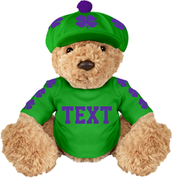 Emerald mascot, purple clovers, large text