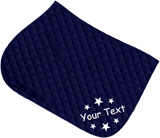 Navy saddle cloth, white text with stars all around