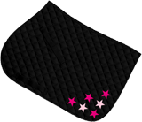 Black saddle cloth, multi-star design in two colours