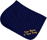Navy saddle cloth, gold glitter two-line text