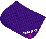 Purple saddle cloth, text and matching xc shape