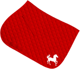 Red saddle cloth, large design in white