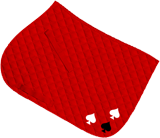 Red saddle cloth, black and white ace of spades design