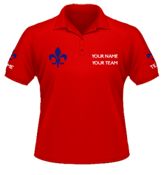 Red polo, navy fleur-de-lis chest and arm designs