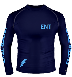 Navy baselayer, sky arm text and spark hip design