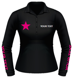 Black polo, fuchsia forearm text and chest designs