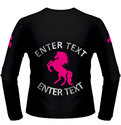 Black performance, large silver text, fuchsia pony design