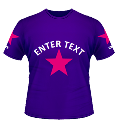 Purple tee, fuchsia stars, white chest and arm text
