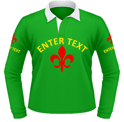 Emerald rugby, text and design on front and arms
