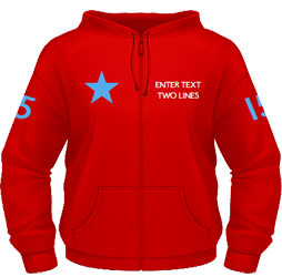 Red zip hoodie with chest and arm text