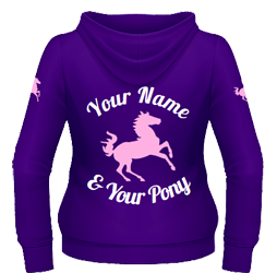 Purple hoodie, pink pony and two-line text (back)