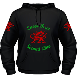 Black hoodie, red and gold glitter dragon design