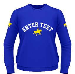 Royal sweatshirt, yellow designs and white curve text