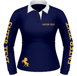 Navy rugby, gold glitter text and logo